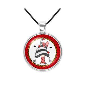 Ladybug Gnome Art Silver Glass Pendant Necklace